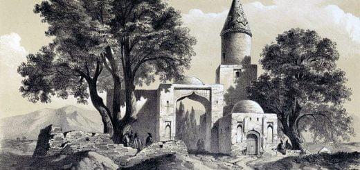 عکس نقاشی اوژن فلاندن از آرامگاه امامزاده کهریز ابهر