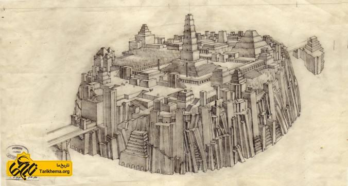 عکس یک طراحی شبیهسازیشده از شهر گمشدهی آتلانتیس در سالهای ۱۹۲۰ توسط مهندس معمار، گِزا ماروتی Géza Maróti (یانوس گِرِل/ (WikimediaCommons.com %d8%a2%d8%aa%d9%84%d8%a7%d9%86%d8%aa%db%8c%d8%b3-%d8%aa%d9%85%d8%af%d9%86-%da%af%d9%85%d8%b4%d8%af%d9%87 Tarikhema.org