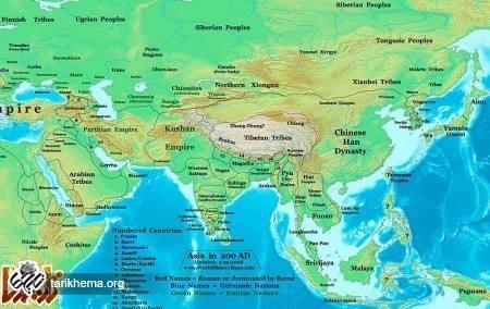 قلمرو امپراتوری کوشانی، همسایهٔ شرقی ایران، در زمان اشکانیان، در سال ۲۰۰ میلادی
