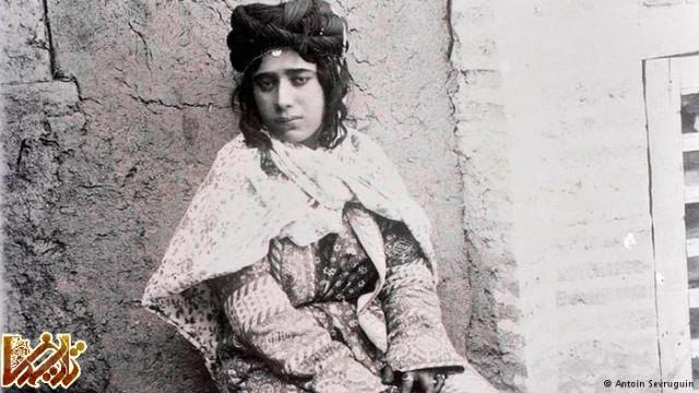 پرترهای از یک دختر ایرانی در زمان قاجار