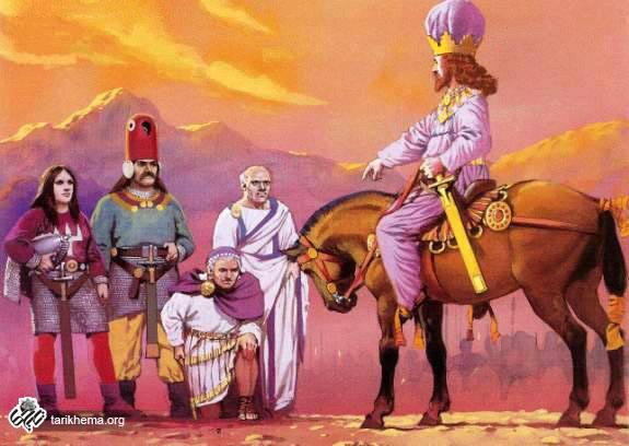 Shahpur taking Roms Emperor Valerian Prisoner.jpg (570×413)