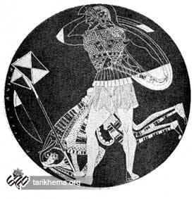 جام گلی یونانی با تصویر سر باز سنگین و درفشدار ایرانی (موزه لوور)