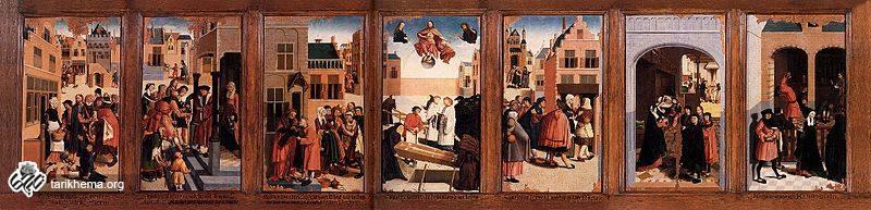 """""""هفت اثر دلسوزی"""" ۱۵۰۴، اثر: Master of Alkmaar، رنگ و روغن روی چوب، نگهداری شده در موزهٔ روتردام"""