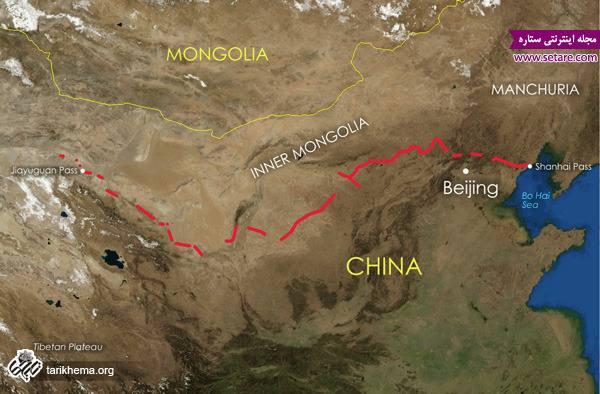 نقشه هوایی دیوار چین، کره ماه، دیوار چین، دیوار چین از کره ماه، طول دیوار چین