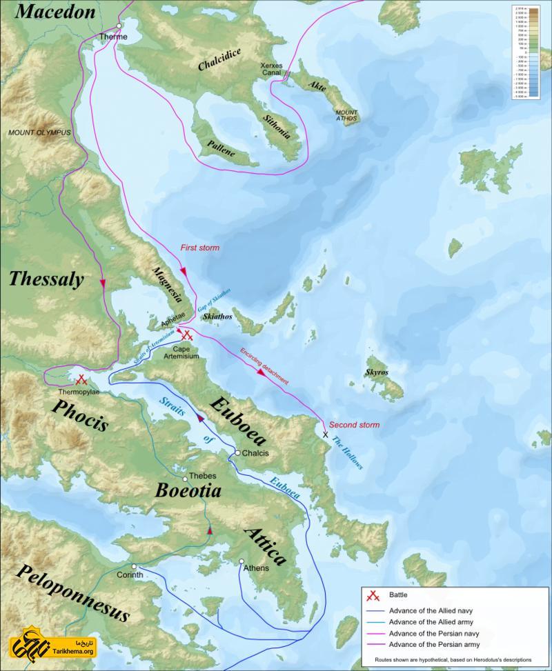 عکس نقشهٔ جنگی نبرد ترموپیل و آرت میزیوم (۴۸۰ قبل از میلاد مسیح)، بر اساس توصیفات هرودوت. رسم شده بر نقشهٔ توپوگرافیکی دریای اژه %d9%81%d8%aa%d8%ad-%d8%a2%d8%aa%d9%86-%d8%af%d8%b1-%d8%b2%d9%85%d8%a7%d9%86-%d8%ae%d8%b4%d8%a7%db%8c%d8%a7%d8%b1%d8%b4%d8%a7 Tarikhema.org