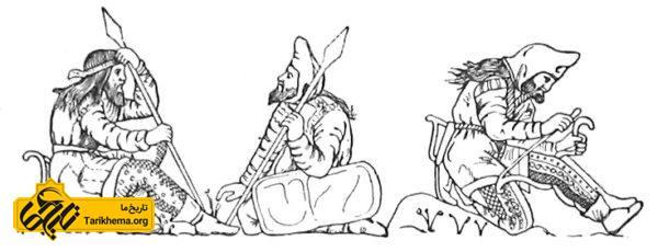 طرحی از سربازان سکایی که از روی یک پیاله کشیده شدهاست.