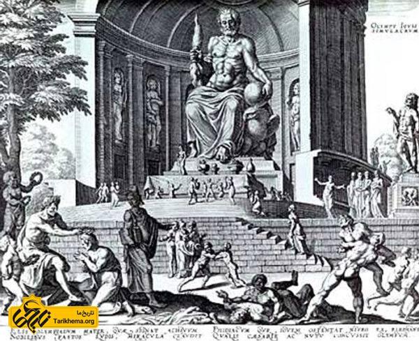 پیکرهٔ زئوس فیدیاس آتنی، در حدود سال ۴۳۵ پیش از میلاد، این مجسمهٔ ۱۲ متری را ساخته و زینت نیایشگاه زئوس در المپیا کرد. این مجسمه که یکی از عجایب هفتگانهٔ دنیای قدیم شناخته میشد، بعدها دزدیده شد. تصویر فوق نقاشی سده ۱۶ از این مجسمهاست.