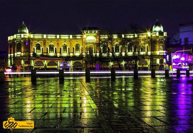 میدان حسن آباد در نورپردازی شب