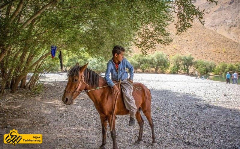 پسر روستایی سوار بر اسب