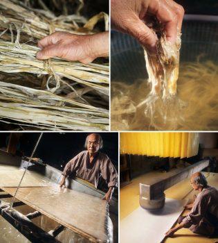 یک هنرمند این کاغذ را به روشی سنتی می سازد.