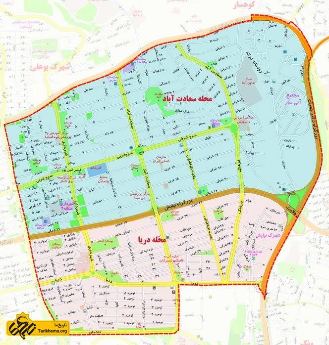 نقشه سعادت آباد