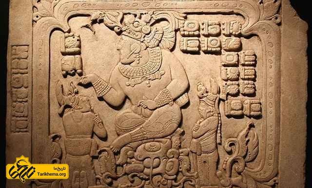 پادشاه مایان با دو تن از زیردستانش!