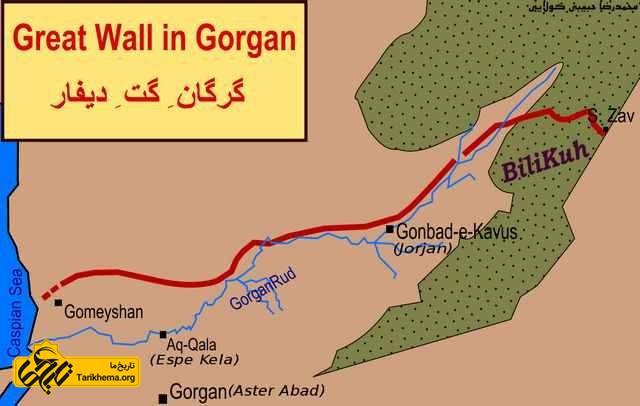 نقشه دیوار بزرگ گرگان