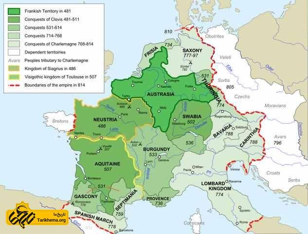 نقشه پادشاهی فرانکی تا زمان مرگ شارلمان
