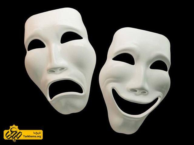 ماسک های درام نشان دهنده تراژدی و کمدی