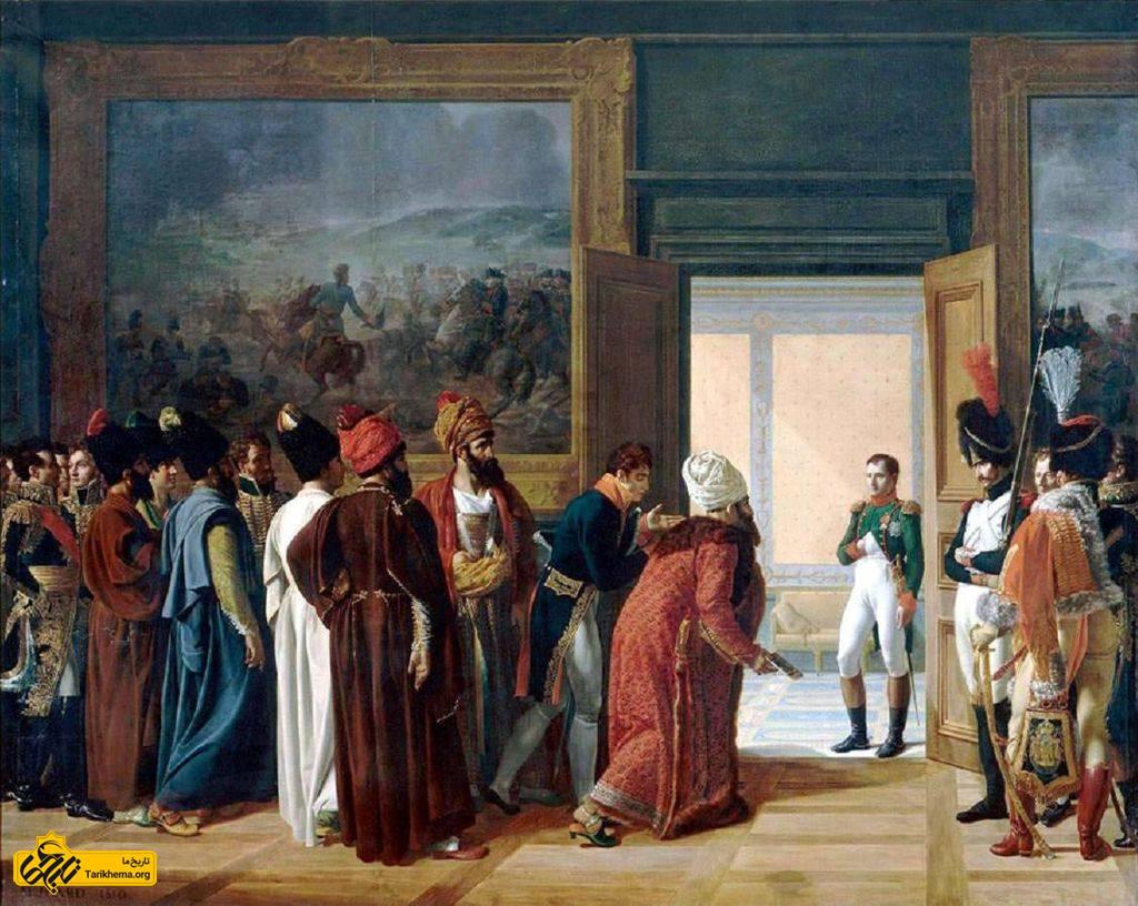 میرزا محمدرضا قزوینی، فرستادهٔ ایرانی، در دیدار با ناپلئون بناپارت در کاخ فینکنشتاین ۲۷ آوریل ۱۸۰۷ م. برابر ۶ اردیبهشت ۱۱۸۶ ه.خ مطابق ۱۸ صفر ۱۲۲۲ ه. ق