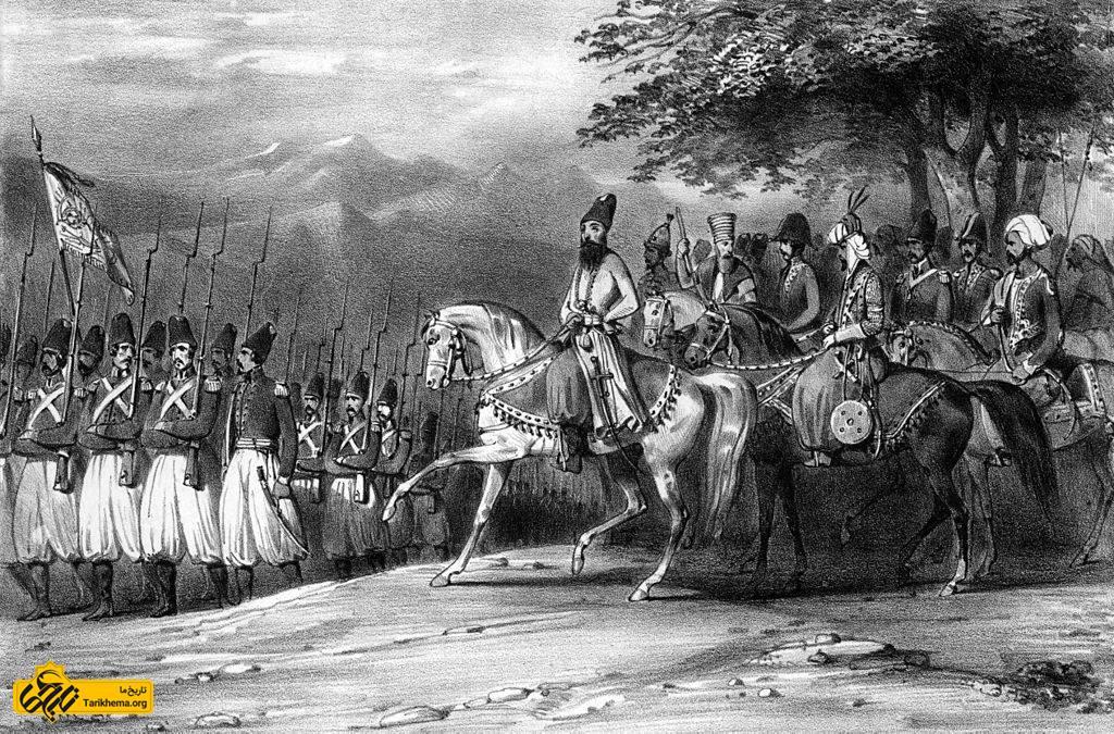عباس میرزا، فرمانده جنگ ایران، در جنگ از سربازان ایرانی سان میبیند