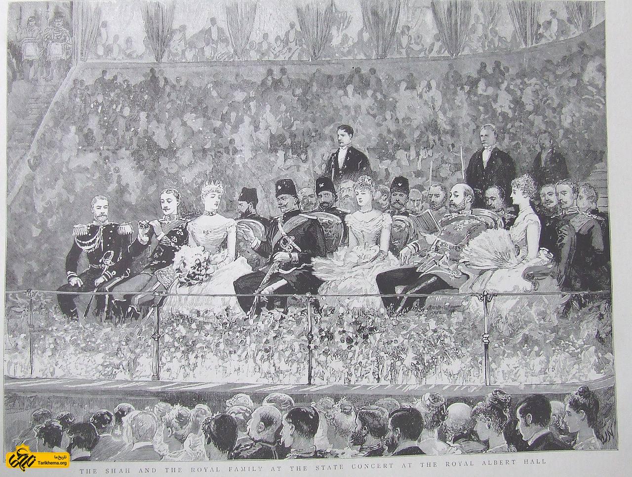 شاه در سفر اروپایی خود در آلبرت هال لندن همراه با سلاطین بریتانیا و روسیه