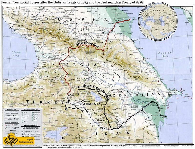 مرزهای شمال غربی ایران و روسیه تا پیش از عهدنامهٔ گلستان (خط قرمزرنگ) و پس از آن (خط سیاهرنگ)