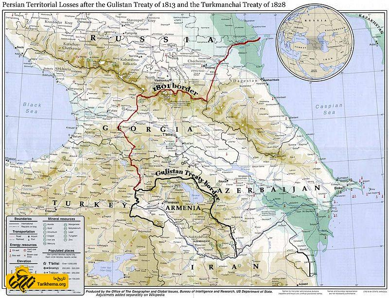 مرز ایران و روسیهٔ تزاری پیش از پیمان نامهٔ گلستان (این نقشه دقیق نیست و نیمه غربی گرجستان و حدود ۱۵ هزار کیلومتر مربع از شمال داغستان و چچن و اینگوش را شامل نمیشود) - در نتیجه این عهدنامه ایران حدود ۲۲۰ هزار کیلومتر مربع از سرزمین خود (وسعت خاکی) به همراه ۱۳۶۰ کیلومتر خط ساحلی در دریای کاسپین (۱۲۰ تا ۱۵۰ هزار کیلومتر وسعت آبی) و ۳۱۰ کیلومتر خط ساحلی در دریای سیاه (۲۰ هزار کیلومتر مربع وسعت آبی) خود را از دست بدهد.