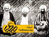 از راست به چپ:شیخ عبدالله دیوشلی لنگرودی، میرزا حسین طهرانی، آخوند خراسانی