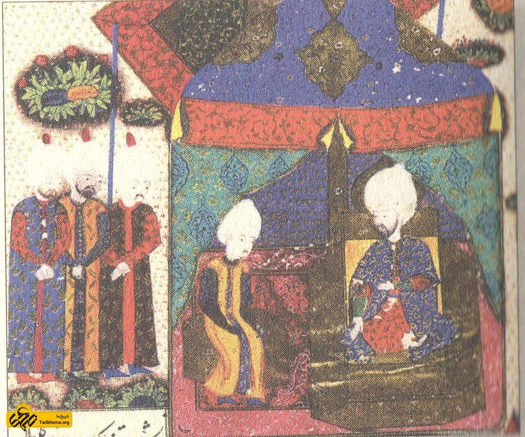 شاهزاده بایزید در کنار پدرش سلطان سلیمان قانونی