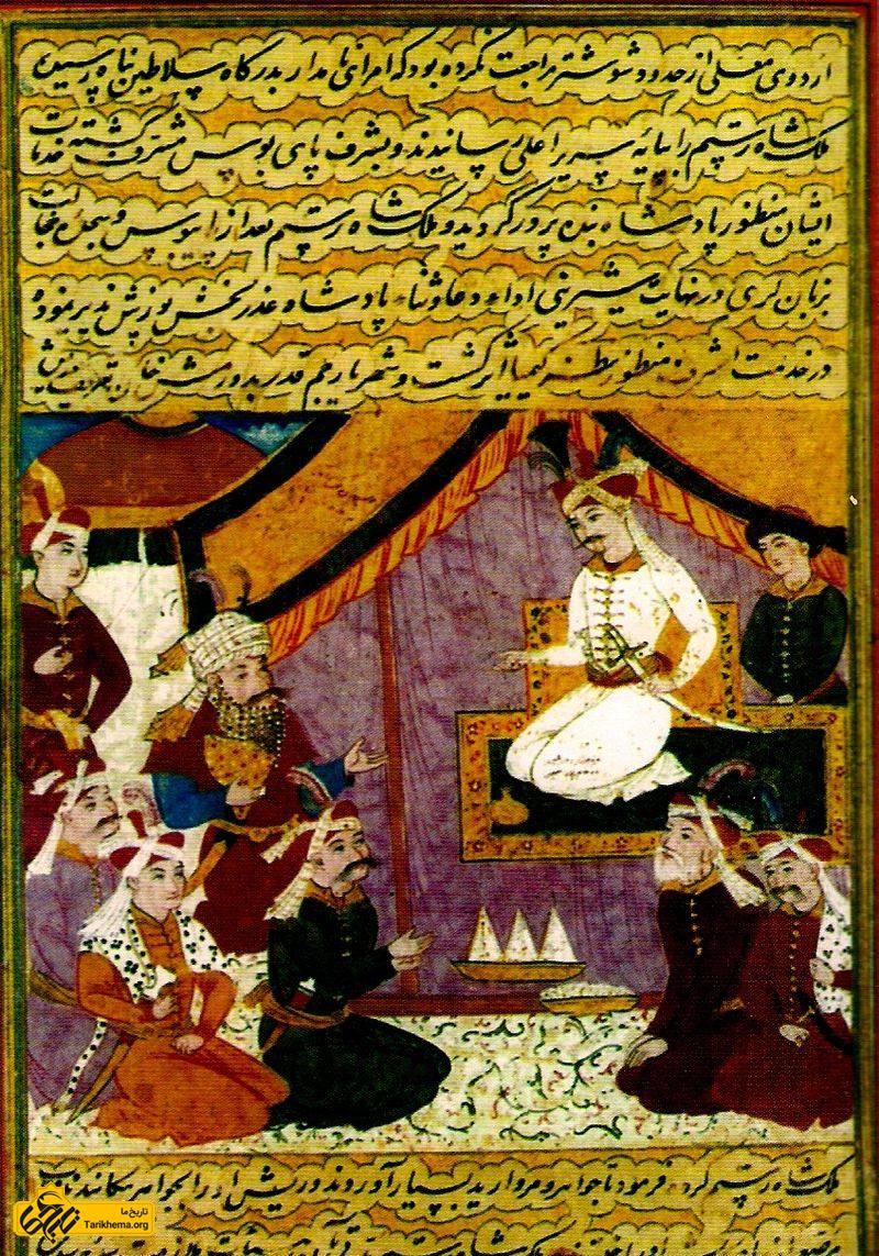 مینیاتوری از شاه اسماعیل دوم و درباریان