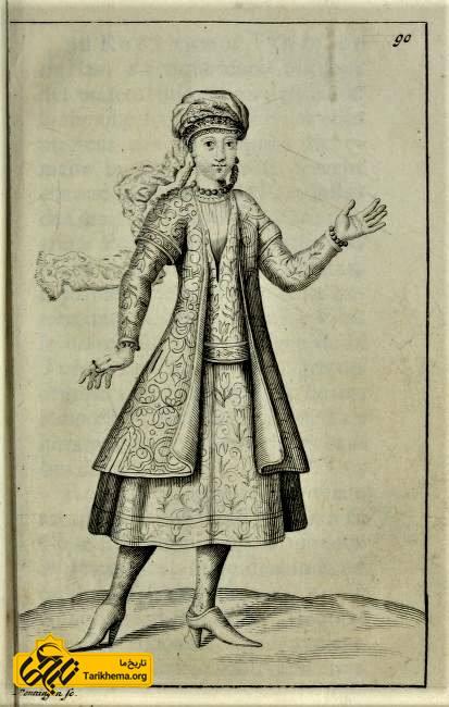 طرح سانسون از لباس زنان ایرانی (قزلباش) در دورهٔ صفوی