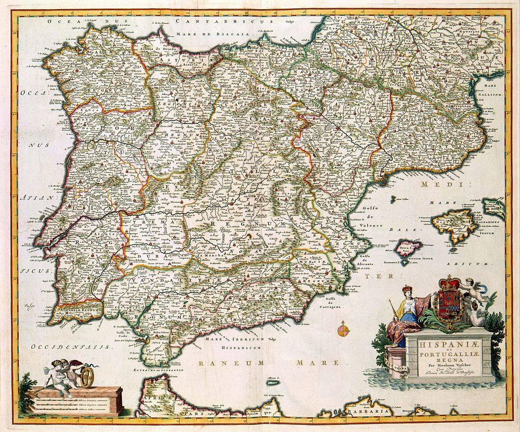 این نقشه اسپانیا و پرتغال توسط Nicolaes Visscher II (1649-1702) منتشر شد