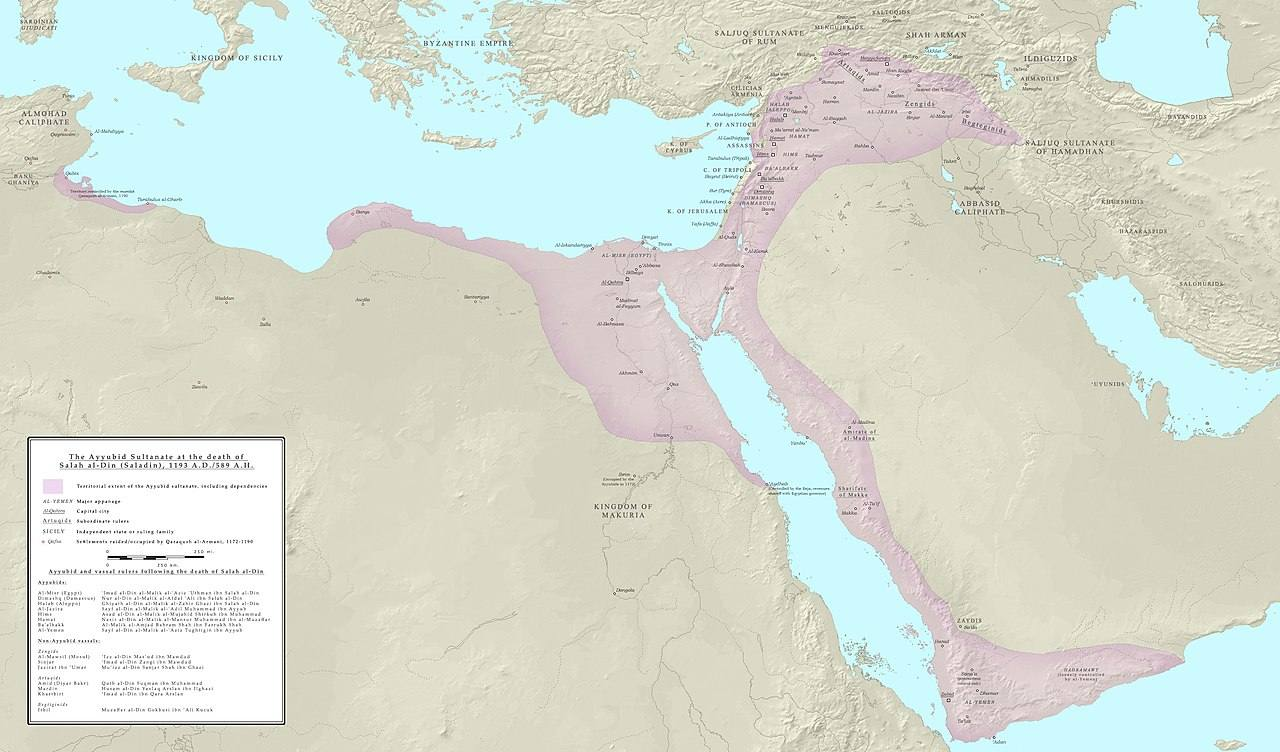 سلطنت ایوبیان در زمان مرگ صلاحالدین ایوبی در سال ۱۱۹۳