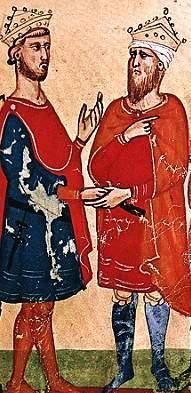 الکامل (سمت راست) و فردریک دوم معاهده ای را امضا کردند که اورشلیم را به مدت ده سال به صلیبی ها بازگرداند. از Nuova Cronica ، اواسط قرن 14 میلادی
