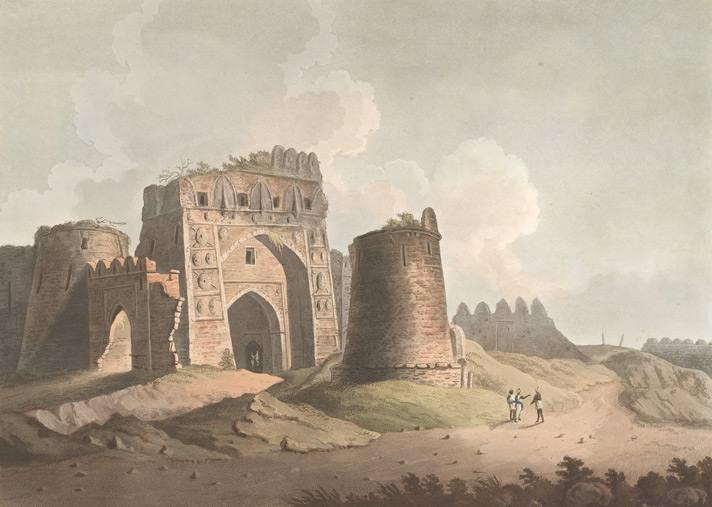 دروازه غربی فیروزآباد (امروزه فیروزشاه کلته) کشیده شده به سال ۱۸۰۲