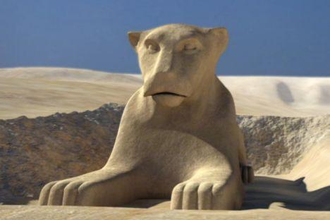 تصویری باز سازی شده از مجسمه ابوالهول با سر شیر گونه